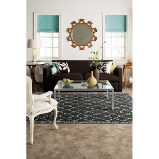 Woven Stretched Lattice Grey Shag Rug (3'4 x 5'6)