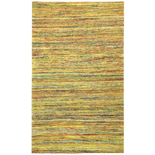 Recycled Sari Silk Yellow Rug (5' x 8')