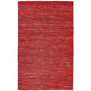 Recycled Sari Silk Red Rug (4' x 6')