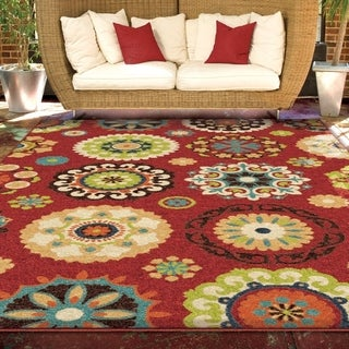 Indoor/ Outdoor Promise Salsalito Red Geometric Indoor/ Outdoor Rug (7'8 x 10'10)