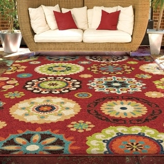 Promise Salsalito Red Geometric Indoor/ Outdoor Rug (7'8 x 10'10)
