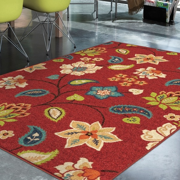 Promise St. Thomas Red Floral Are Rug (7'8 x 10'10)