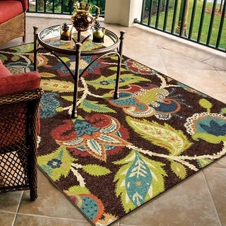 Promise Basil Brown Floral Area Rug (7'8 x 10'10)