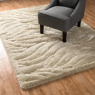 Plush Solid Abstract Shag Rug (5'2 x 7'7)