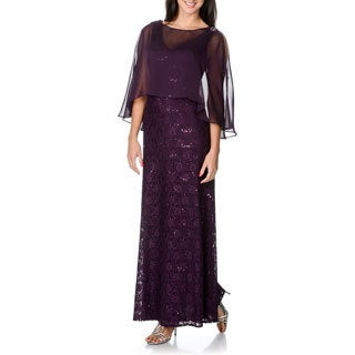 Ignite Evenings by Carol Lin Women's Sheer Poncho Sequined Lace Evening Dress