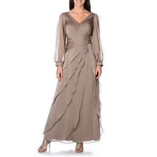 Ignite Evenings by Carol Lin Women's Sheer Peasant-sleeve Evening Dress