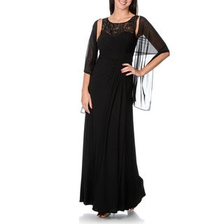 Ignite Evenings Women's Black Sheer Yoke Evening Dress with Matching Scarf