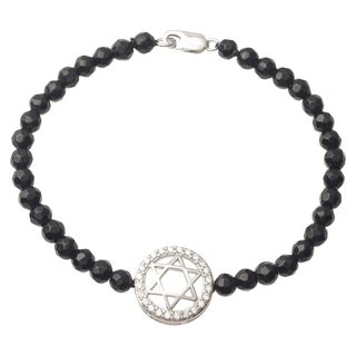 Tressa Collection Sterling Silver Cubic Zirconia Faux Pearl Star of David Bracelet (4.3 mm)