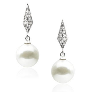 Journee Collection Sterling Silver Created Pearl Cubic Zirconia Earrings (10 mm)