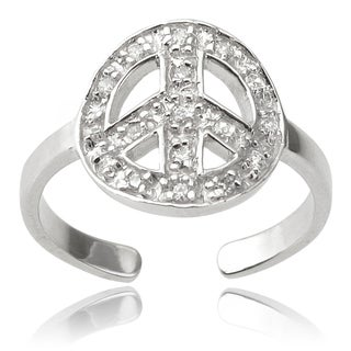 Journee Collection Sterling Silver Cubic Zirconia Peace Symbol Toe Ring