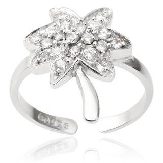 Journee Collection Sterling Silver Cubic Zirconia Palm Tree Toe Ring