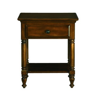 Solid Wood Chestnut 1-drawer Side Table/ Nightstand