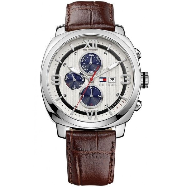 Tommy Hilfiger Men's 1790968 Multi-function Brown Leather Strap Watch