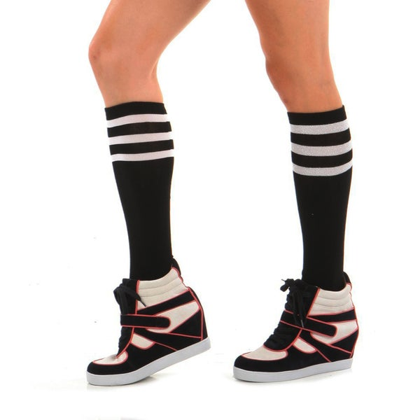 Angelina Hoisery Black Referee Knee-high Socks with Colored Stripes