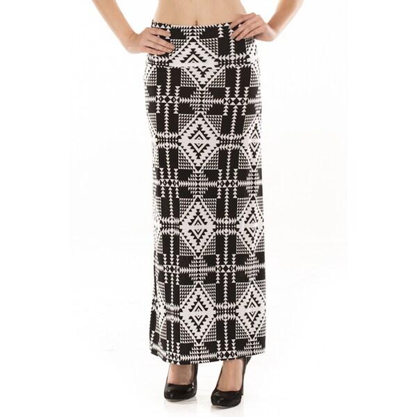 Women's Black and White Ikat Geometric Maxi Skirt