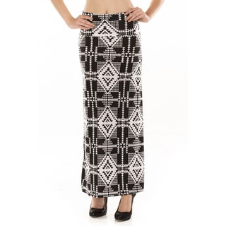 Women's Black and White Ikat Geometric Maxi Skirt