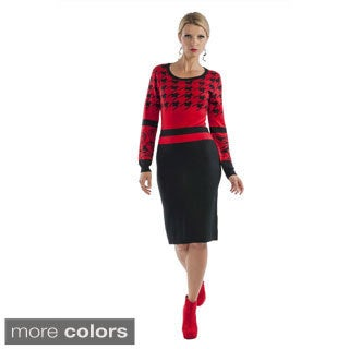 Kayla Collection Women's Two-tone Houndstooth Sweater Dress