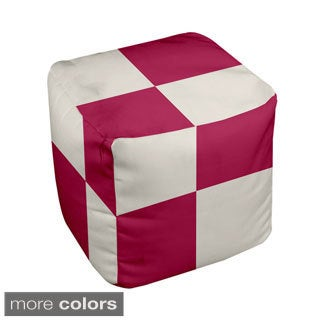 13 x 13-inch Two-tone Large Check Print Geometric Decorative Pouf