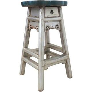 Maribel Silvertone/ Blue 1-drawer Reclaimed Wood Stool (China)