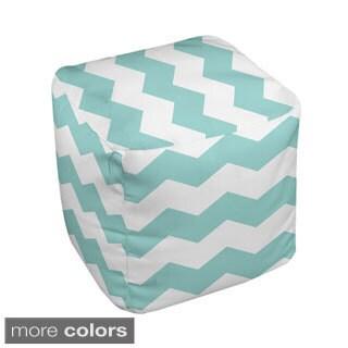 18 x 18-inch Two-tone White Chevron Stripe Decorative Pouf