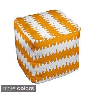 18 x 18-inch Two-tone White Ripple Stripe Decorative Pouf