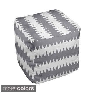 18 x 18-inch Neutral Ripple Stripe Decorative Pouf