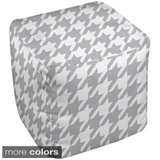 18 x 18 -inch Neutral Houndstooth Print Decorative Pouf