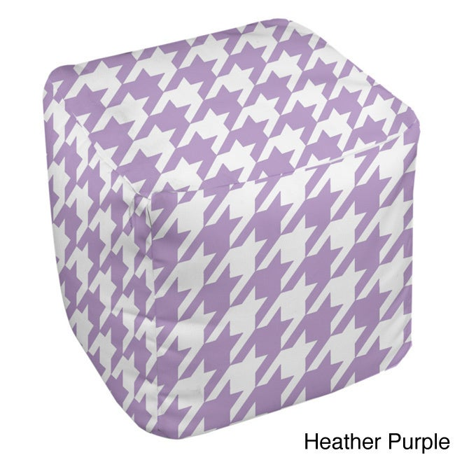 Overstock.com 18 x 18-inch Purple Houndstooth Print Decorative Pouf at Sears.com