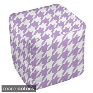 18 x 18-inch Purple Houndstooth Print Decorative Pouf