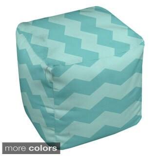 18 x 18-inch Multi-colored Chevron Stripe Decorative Pouf