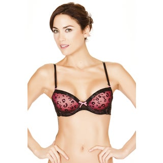 Black Fuchsia Women's 3-D Double Push-Up Padded Bra