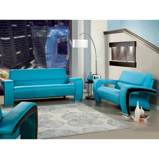Furniture of America Perthan Modern Blue 2-Piece Loveseat and Sofa Set