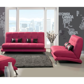 Furniture of America Eissa Modern Fuchsia 2-Piece Loveseat and Sofa Set