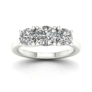 De Couer 14k White Gold 2ct TDW Diamond 3-stone Ring (H-I, I1-I2)