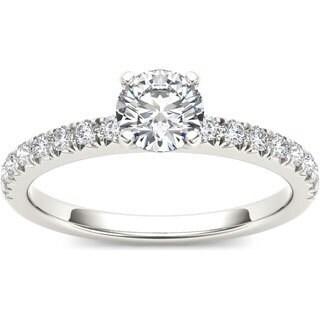 De Couer 14k White Gold 3/4ct TDW Diamond Side Stone Engagement Ring (H-I, I1-I2)