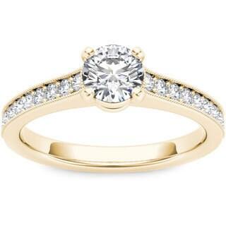 De Couer 14k Yellow Gold 1 1/5ct TDW Diamond Engagement Ring (H-I, I1-I2)