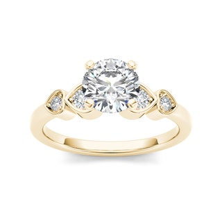 De Couer 14k Yellow Gold 1ct TDW Diamond Heart Side Stone Engagement Ring (H-I, I1-I2)