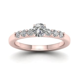 De Couer 14k Rose Gold 1ct TDW Diamond Side Stone Engagement Ring (H-I, I1-I2)