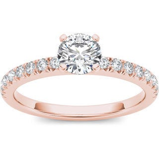 De Couer 14k Rose Gold 3/4ct TDW Diamond Side Stone Ring (H-I, I1-I2)