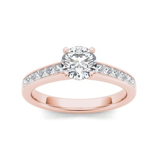 De Couer 14k Rose Gold 1 1/4ct TDW Diamond Solitaire Engagement Ring (H-I, I2)
