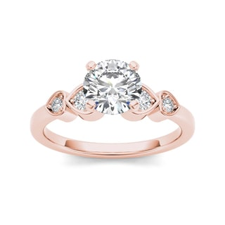 De Couer 14k Rose Gold 1ct TDW Diamond Heart Side Stone Ring (H-I, I2)
