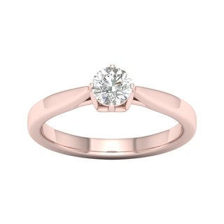 De Couer 14k Rose Gold 1/2ct TDW Round Cut Solitaire Diamond Ring (H-I, I2)