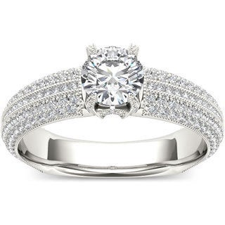 De Couer 14k White Gold 1 1/2ct TDW Diamond Pave Band Engagement Ring (H-I, I2)