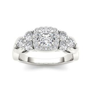 De Couer 14k White Gold 1 1/2ct TDW Princess-cut Diamond Ring (H-I, I2)
