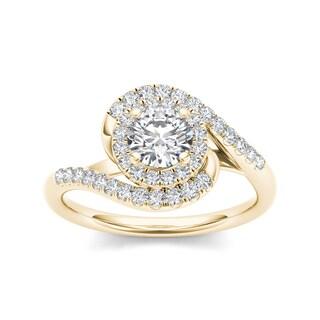 De Couer 14k Yellow Gold 1ct TDW Diamond Halo Twist Ring (H-I, I2)