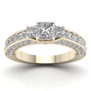 De Couer 14k Yellow Gold 2 3/8ct TDW Diamond Princess-cut Engagement Ring (H-I, I2)