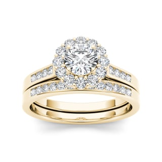 De Couer 14k Yellow Gold 1ct TDW Diamond Scallop Halo Engagement Ring (H-I, I2) with Bonus Necklace