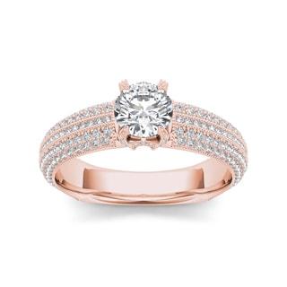 De Couer 14k Rose Gold 1 1/2ct TDW Diamond Pave Engagement Ring (H-I, I2)