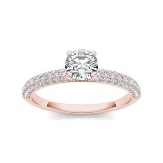 De Couer 14k Rose Gold 1 1/2ct TDW Diamond Pave Band Engagement Ring (H-I, I2)