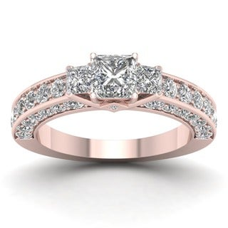 De Couer 14k Rose Gold 2 3/8ct TDW Diamond Princess-cut Three-stone Ring (H-I, I2) with Bonus Necklace